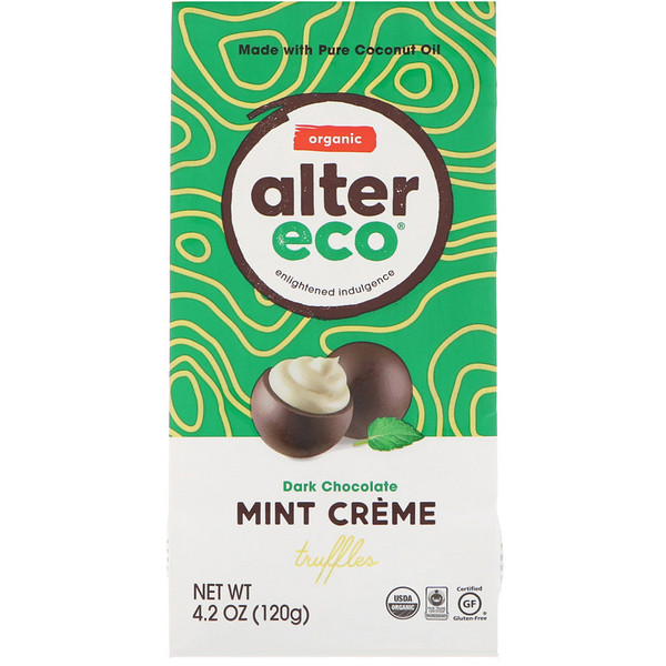 Alter Eco, Organic Mint Creme Truffles, Dark Chocolate, 4.2 oz (120 g) (Discontinued Item)