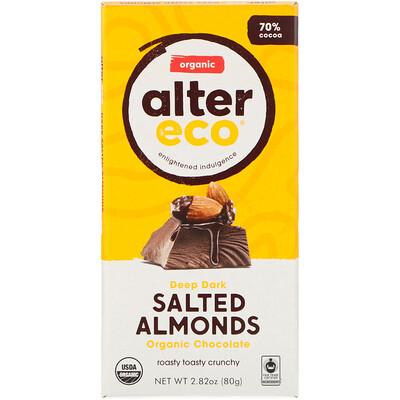 Купить Органический шоколадный батончик, глубокий темный соленый миндаль, 2, 82 унции (80 г)