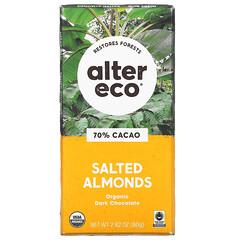 Alter Eco, 有機黑巧克力棒,鹹味巴旦木,70% 可可,2.82 盎司(80 克)