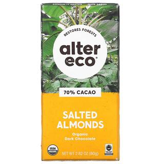 Alter Eco, Organic Dark Chocolate Bar, Salted Almonds, 70% Cacao, 2.82 oz (80 g)