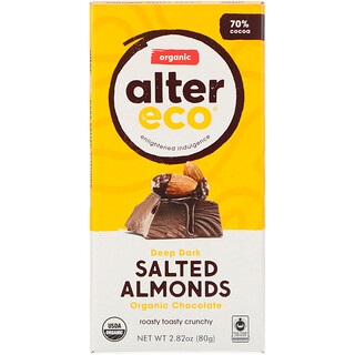 Alter Eco, Organic Chocolate Bar, Deep Dark Salted Almonds, 2.82 oz (80g)