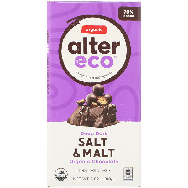 Alter Eco, Organic Chocolate Bar, Deep Dark Salt & Malt, 2.82 oz (80 g) (Discontinued Item)