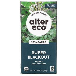 Alter Eco, Organic Dark Chocolate Bar, Super Blackout, 90% Cacao, 2.65 oz (75 g)