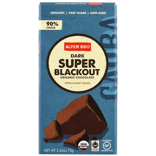 Alter Eco, オーガニックチョコレート、ダークスーパーブラックアウト、2.65 oz (75 g)