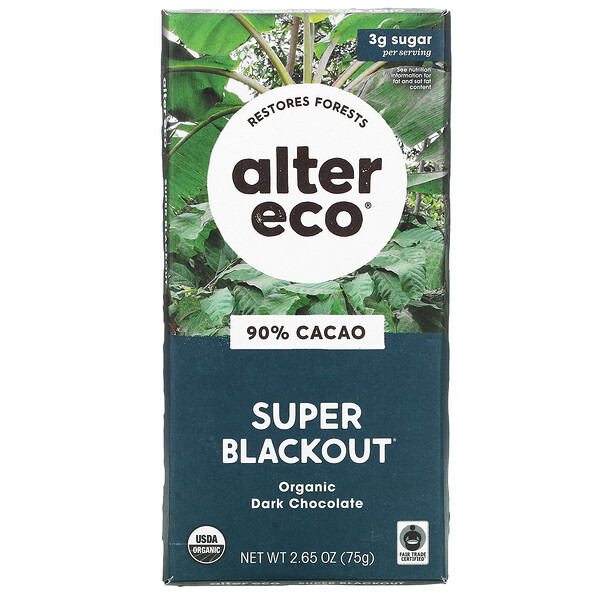 Super Blackout, Barra de chocolate negro orgánico, 90 % de cacao, 75 g (2,65 oz)