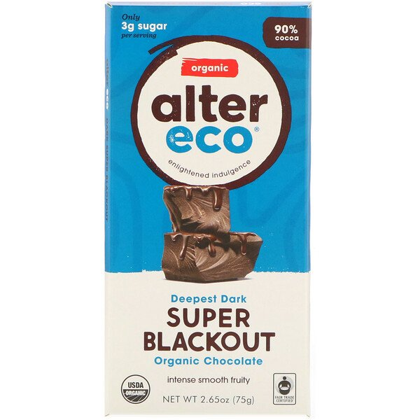 Barra de Chocolate Orgânico, Super Blackout Escuro Mais Intenso, 75 g (2,65 oz)
