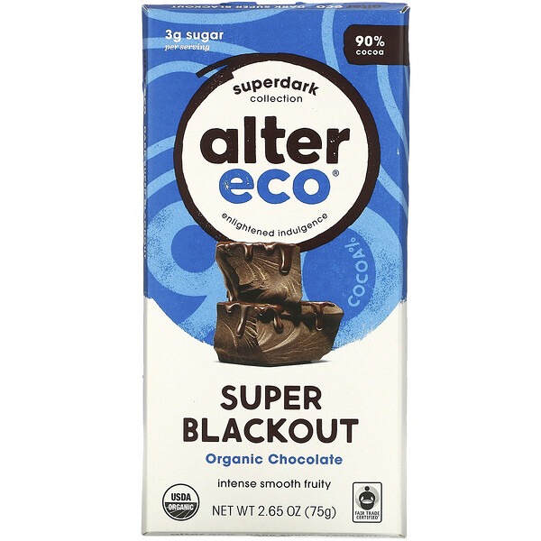 Alter Eco, Organic Chocolate Bar, Super Blackout, 2.65 oz (75 g)