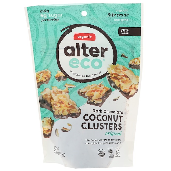 Alter Eco, Dark Chocolate Coconut Clusters, Original, 70% Cocoa, 3.2 oz (91 g) (Discontinued Item)