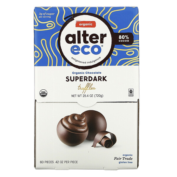 Organic Chocolate Truffles, Superdark, 60 pieces, .42 oz Each