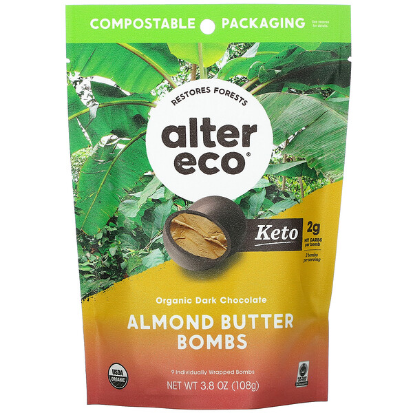 Alter Eco, Organic Dark Chocolate Almond Butter Bombs, 3.8 oz ( 108 g)