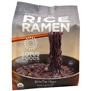 Lotus Foods, Organic Forbidden Rice Ramen, 4 Packs, 10 oz (283 g)