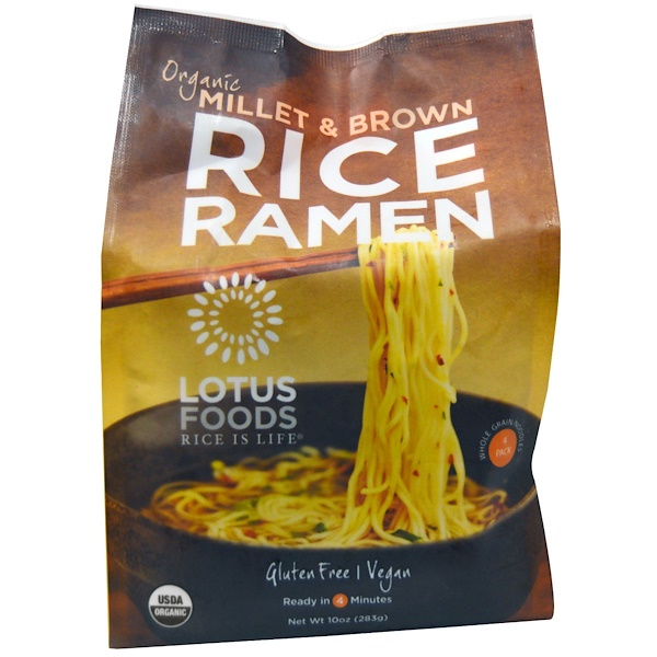 Lotus Foods, Organic Millet & Brown Rice Ramen, 4 حزم، 10 أوقية (283ج) (Discontinued Item)
