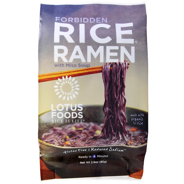 Lotus Foods, Forbidden Rice Ramen, with Miso Soup, 10 Packs, 2.80 oz (80 g) Each (Discontinued Item)