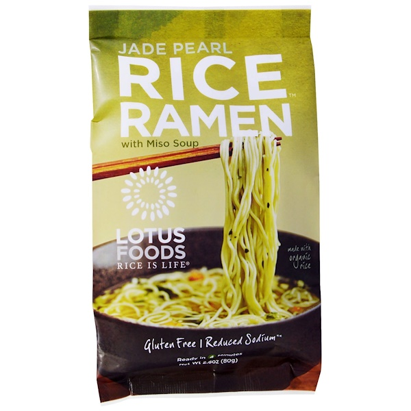 Lotus Foods, Jade Pearl Rice Ramen, With Miso Soup, 10 Packs, 2.80 oz (80 g) Each (Discontinued Item)