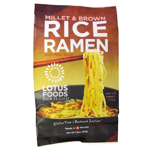 Lotus Foods, Millet & Brown Rice Ramen, with Miso Soup, 10 Packs, 2.8 oz (80 g) Each (Discontinued Item)