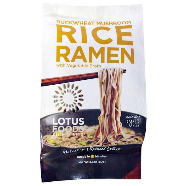 Lotus Foods, Buckwheat Mushroom Rice Ramen, with Vegetable Broth, 10 Packs 2.8 oz (80 g) Each (Discontinued Item)