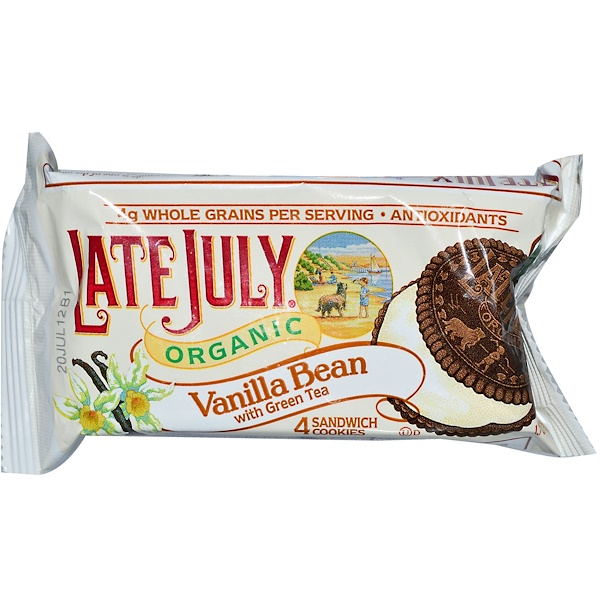 Late July, Organic Sandwich Cookies, Vanilla Bean with Green Tea, 4 Cookies 1.7 oz (48 g) (Discontinued Item)