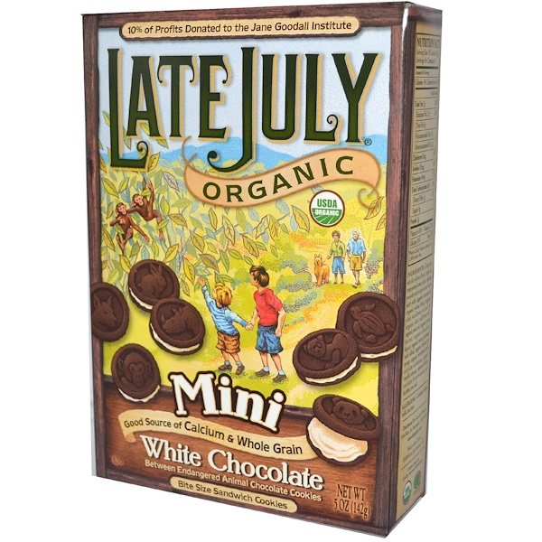 Late July, Organic Mini Bite Size Sandwich Cookies, White Chocolate Between Chocolate, 5 oz (142 g) (Discontinued Item)