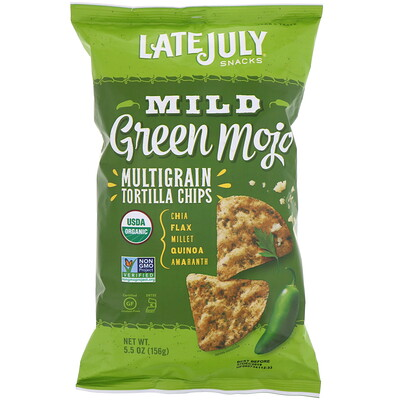 Late July Multigrain Tortilla Chips, Mild Green Mojo, 5.5 oz (156 g)
