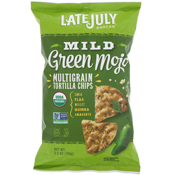 Late July, Multigrain Tortilla Chips, Mild Green Mojo, 5.5 oz (156 g)