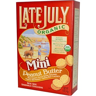 Late July, Organic Mini Bite Size Sandwich Crackers, Peanut Butter, 5 oz (142 g)