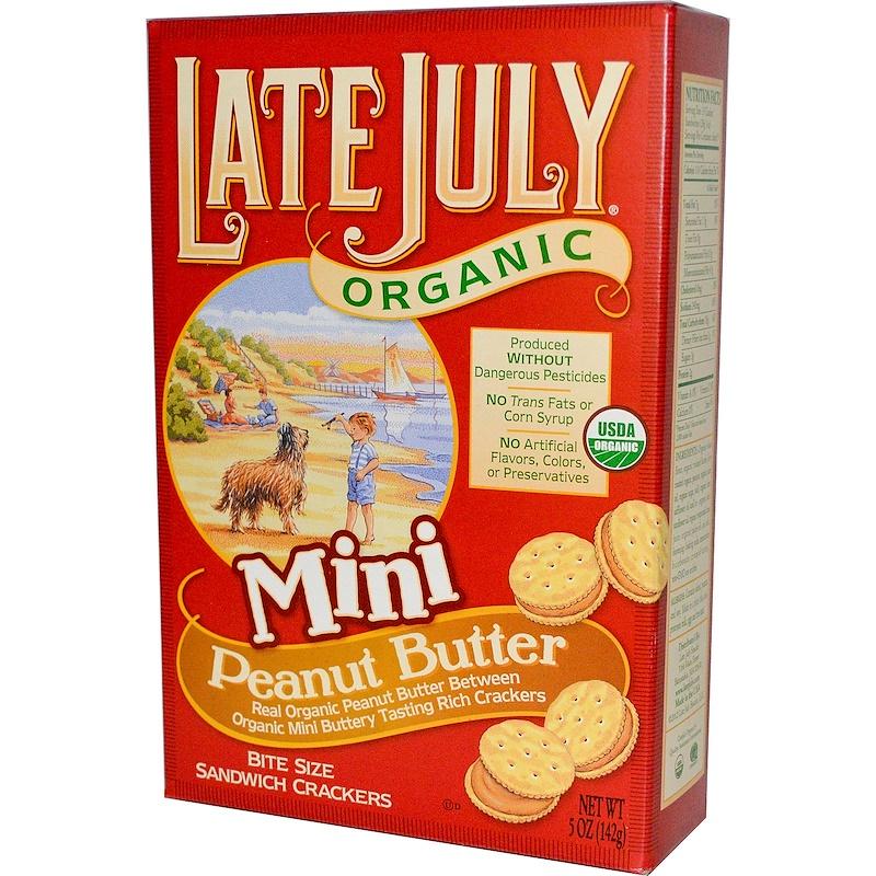 Organic Mini Bite Size Sandwich Crackers, Peanut Butter, 5 oz (142 g)