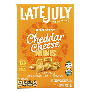 Late July, Organic Mini Bite Size Sandwich Crackers, Cheddar Cheese, 5 oz (142 g)