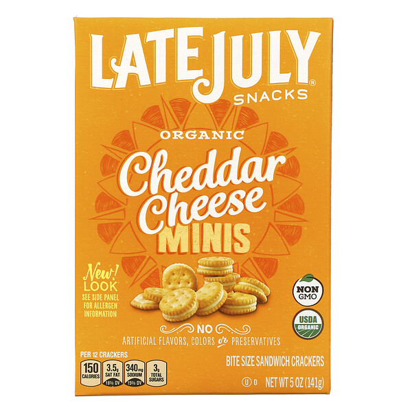Late July, Organic Mini Bite Size Sandwich Crackers, Cheddar Cheese, 5 oz (142 g)