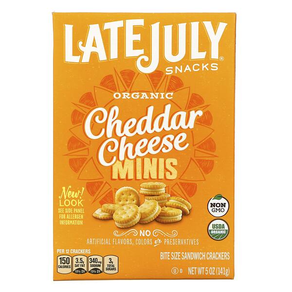 オーガニックミニバイトサイズサンドイッチクラッカー、チェダーチーズ、142g(5オンス)