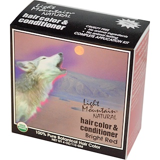 Light Mountain, Natural Hair Color and Conditioner, Bright Red, 4 oz (113 g)