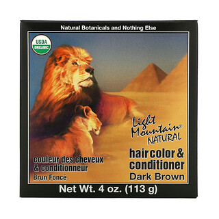 Light Mountain, Natural Hair Color & Conditioner, Dark Brown, 4 oz (113 g)