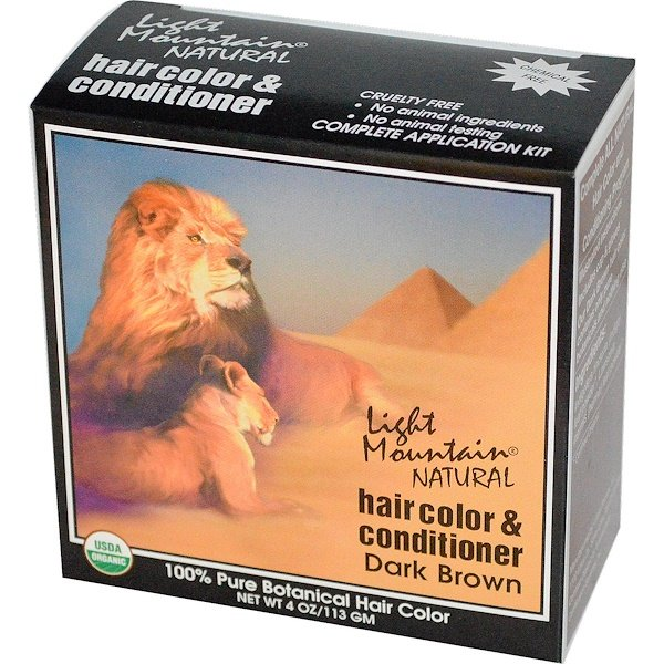 Light Mountain, Organic Hair Color & Conditioner, Dark Brown, 4 oz (113 g)