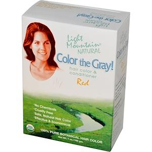 Лайт Маунтэйн, Color The Gray! Natural Hair Color & Conditioner, Red, 7 oz (198 g) отзывы покупателей