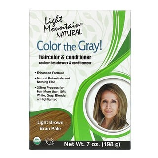 Light Mountain, Color the Gray! Natural Hair Color & Conditioner, Light Brown, 7 oz (198 g)