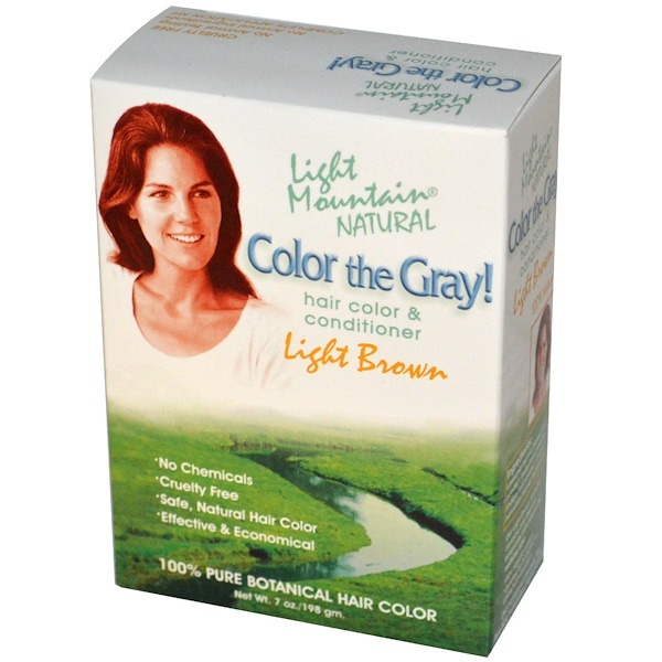 Light Mountain, Color the Gray!, Natural Hair Color & Conditioner, Light Brown, 7 oz (197 g)