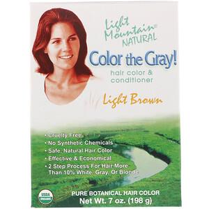 Лайт Маунтэйн, Color the Gray! Natural Hair Color & Conditioner, Light Brown, 7 oz (198 g) отзывы