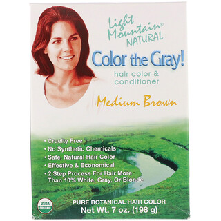 Light Mountain, Color the Gray! Natural Hair Color & Conditioner, Medium Brown, 7 oz (198 g)