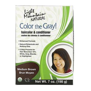 Лайт Маунтэйн, Color the Gray! Natural Haircolor & Conditioner, Medium Brown, 7 oz (198 g) отзывы покупателей