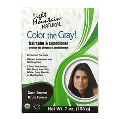 Light Mountain, Color the Gray! 天然頭髮顏色和護髮素,深棕色,7盎司(197克)