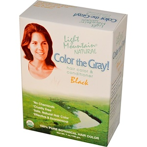 Лайт Маунтэйн, Color the Gray! Natural Hair Color & Conditioner, Black, 7 oz (198 g) отзывы покупателей