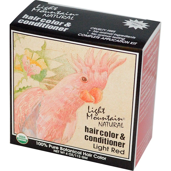 Light Mountain, Organic Natural Hair Color & Conditioner, Light Red, 4 oz (113g)
