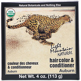 Отзывы о Light Mountain, Organic Natural Hair Color & Conditioner Application Kit, Auburn, 4 oz (113 g)