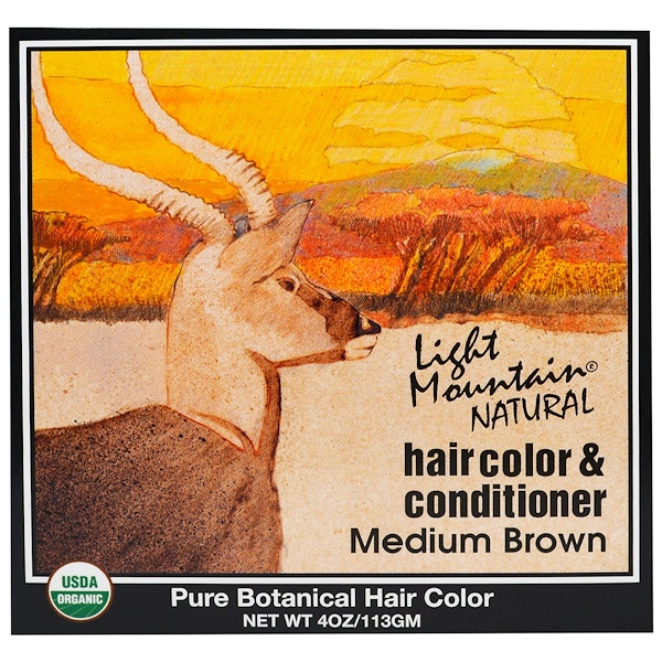 Light Mountain, Color y Acondicionador Natural para el Cabello, Castaño Medio, 4 oz (113 g)