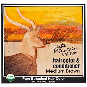 Лайт Маунтэйн, Natural Hair Color & Conditioner, Medium Brown, 4 oz (113 g) отзывы покупателей
