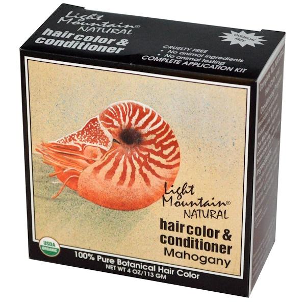Light Mountain, 天然染髮劑和護髮素,紅褐色,4 oz (113 g)
