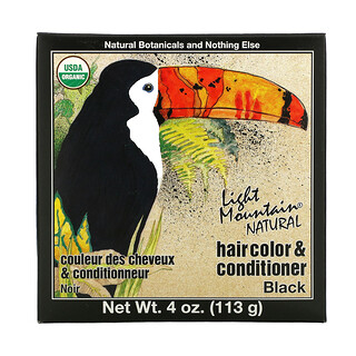 Light Mountain, 自然的染发剂&护发素,黑色,4盎司(113 克)