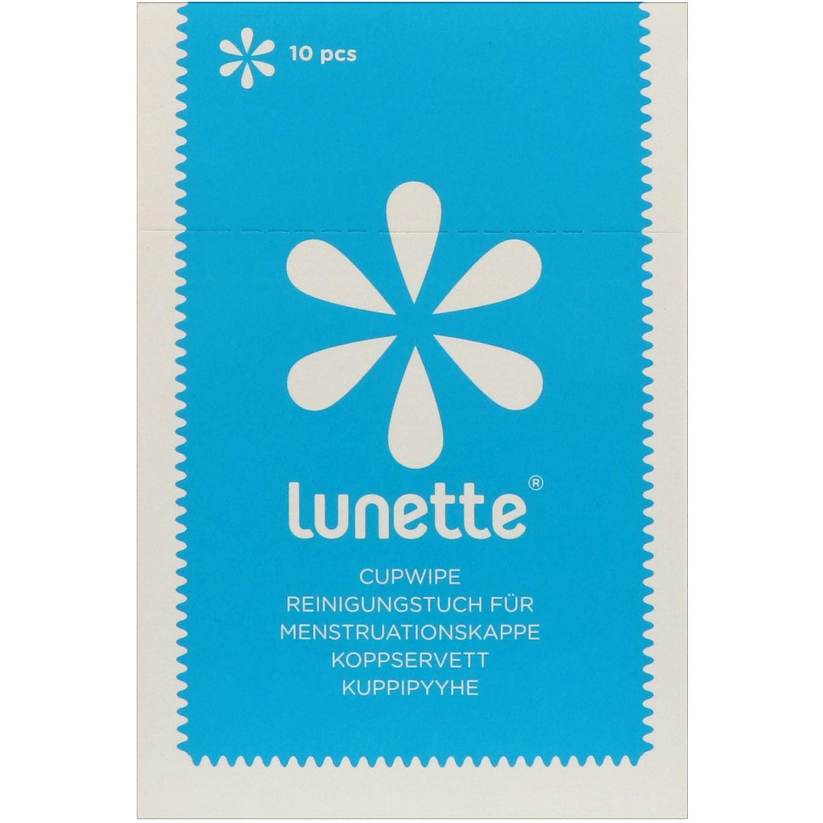 Lunette, Обеззараживающие влажные салфетки для менструальной капы, 10 шт