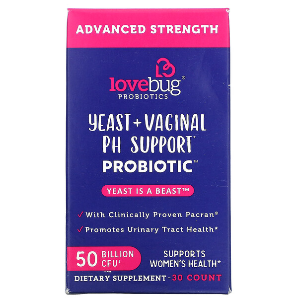 LoveBug Probiotics, Yeast + Vaginal PH Support Probiotic, Advanced Strength, 50 Billion CFU, 30 Count