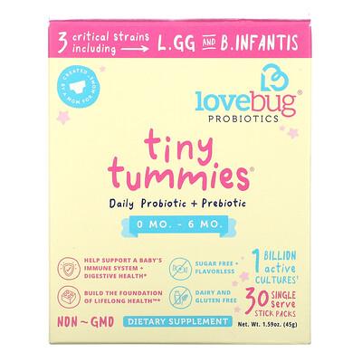 Купить LoveBug Tiny Tummies, Daily Probiotic + Prebiotic, 0 Mo-6 Mo, 30 Single Serve Stick Packs, 1.59 oz ( 45 g)