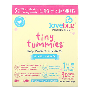 LoveBug, Tiny Tummies, Daily Probiotic + Prebiotic, 0-6 Mo., 1 Billion CFU, 30 Single Stick Packs, 0.05 oz (1.5 g) Each